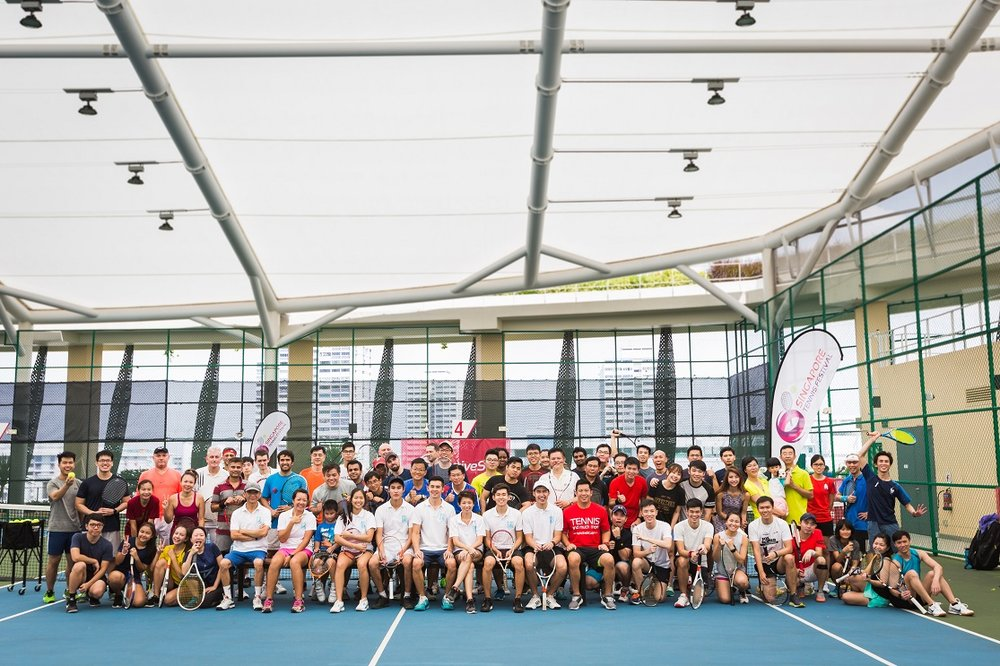 Participants at the Play! Tennis Festival