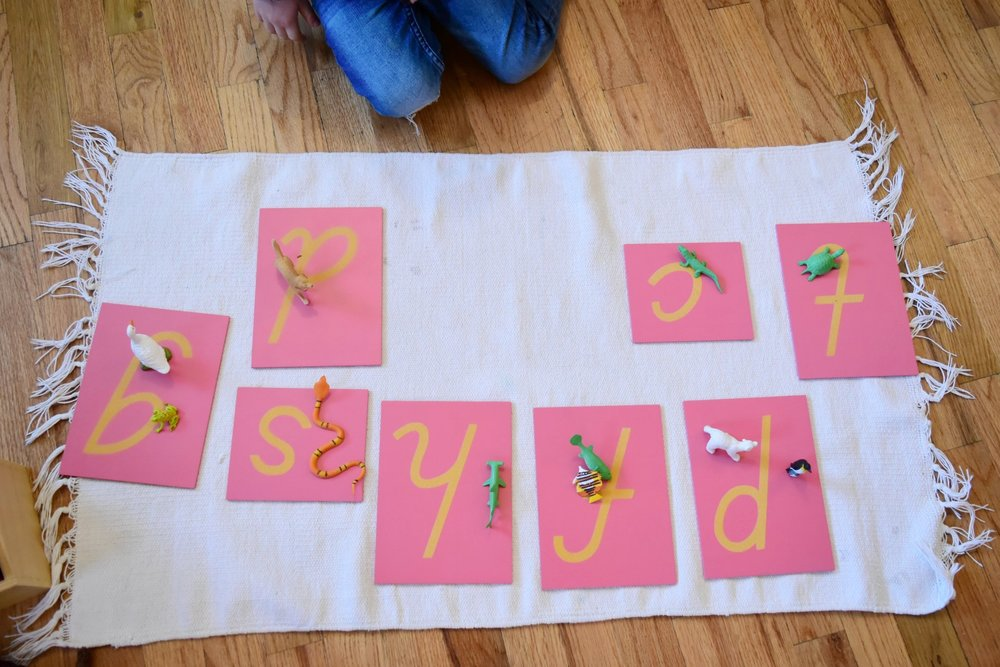A child matches animals to their corresponding Sandpaper Letter. By doing this, the child is learning both how to identify the first sounds of words and identify letters symbols.