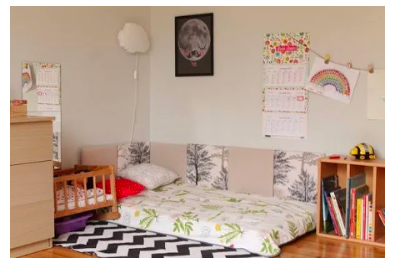 Montessori home environments often include a floor bed for the child so they may move in and out of bed independently, starting from a very young age