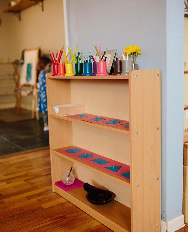 Our custom metal inset shelf helps save on space and is a beautiful way to display your metal insets which help the child practice controlled movement of a pencil on paper while making beautiful designs #montessori #montessorischools #montessoriteacher #montessoriathome #montessoritoys #montessorimom #montessoritoddler #montessoribaby #montessorimethod #preschool #preschoolteacher #artsandcrafts #writing #teachersofinstagram