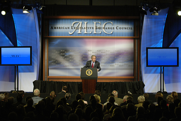 President Bush at an ALEC meeting in 2007