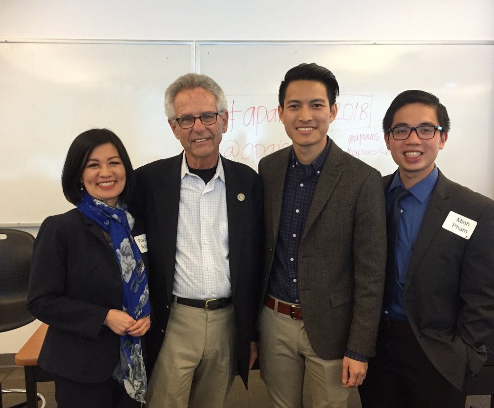 Congressman Alan Lowenthal, Matt Nguyen for OC Board of Education, Westminster Trustee Frances Nguyen, and college graduate Minh Pham.