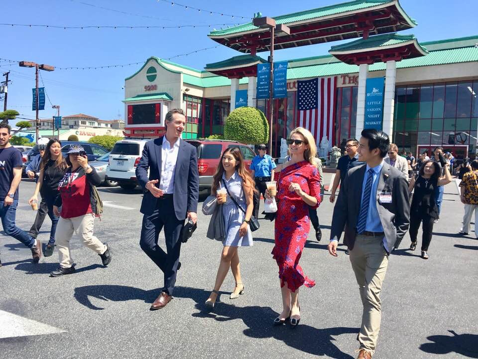 Matt Nguyen tours Little Saigon with Lieutenant Governor Gavin Newsom and Garden Grove Councilwoman Kim Nguyen.
