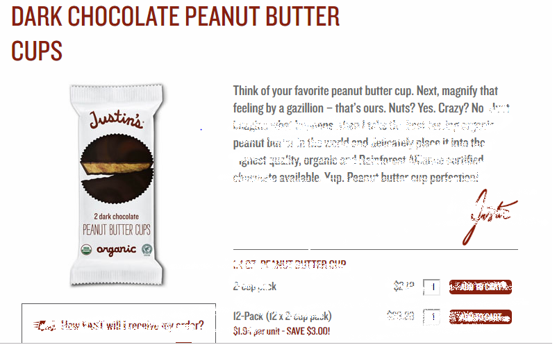 Justin's  Dark Chocolate Peanut Butter Cups  copy gets you engaged from the get-go.