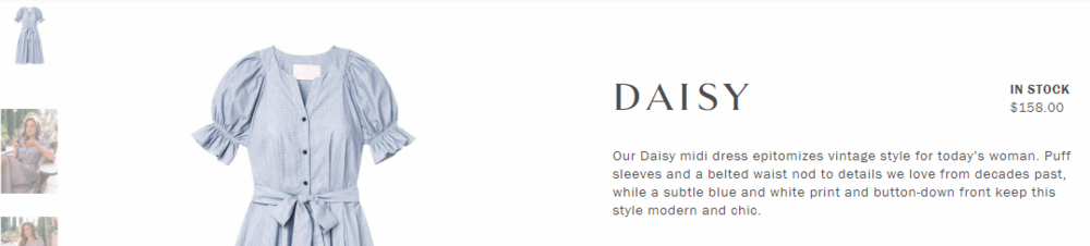 Gal Meets Glam keeps it's feminine, retro-leaning personality intact with product copy for the  Daisy dress .