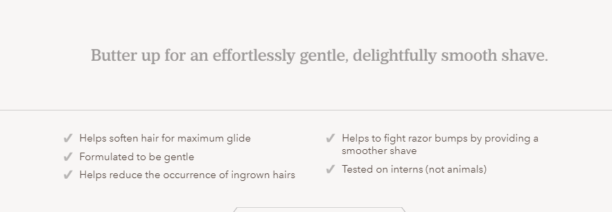 Dollar Shave Club keeps its copy for  Easy Shave Butter  benefit-oriented.