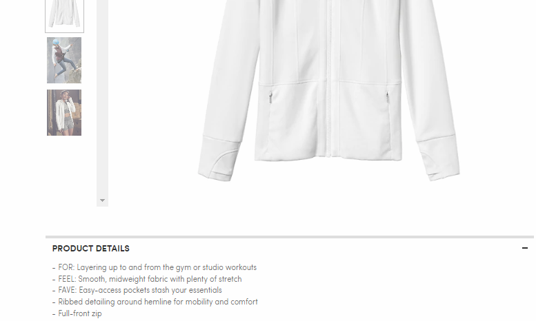 Athleta keeps their copy simple, but relevant, with clear, creative bullet points explaining what their  Fitted Victory Jacket  is good at.