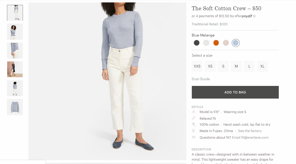 Everlane's  Soft Cotton Crew  copy includes helpful details about fit and origin, along with photos that show the item from all angles.