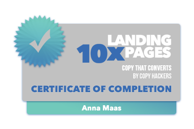 10x Landing Pages Certificate