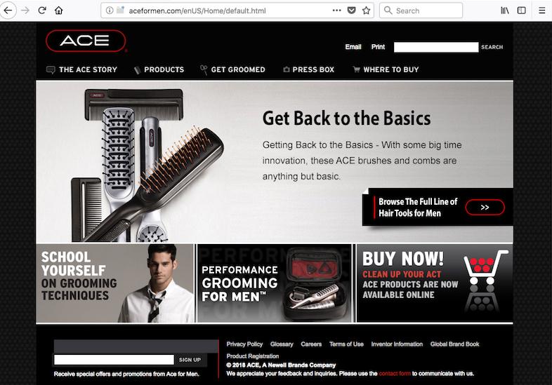 ACE FOR MEN   Client Marketer/Design: Newell Brands