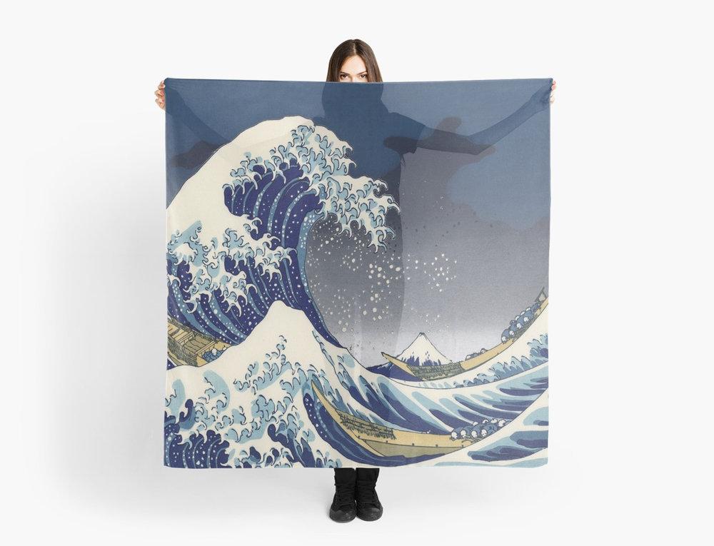 Great Wave: Kanagawa Night Scarf