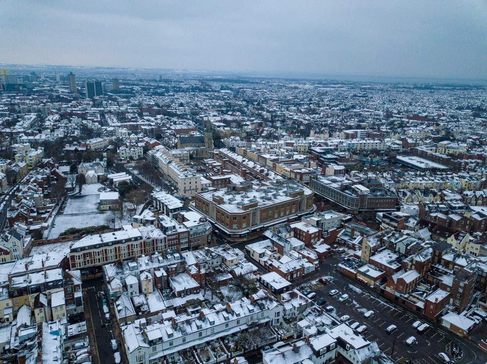 Portsmouth Aerial Photography - Overlooking Southsea - Snowday 2018