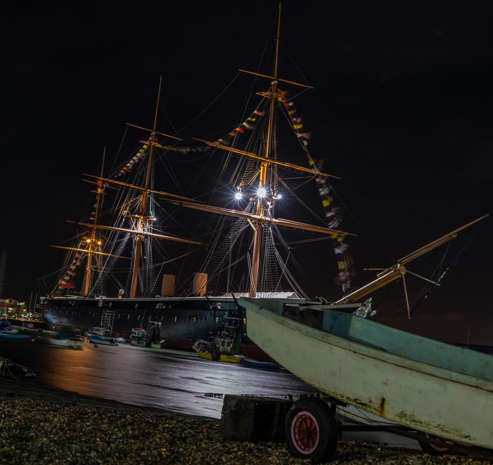 HMS Warrior after dark