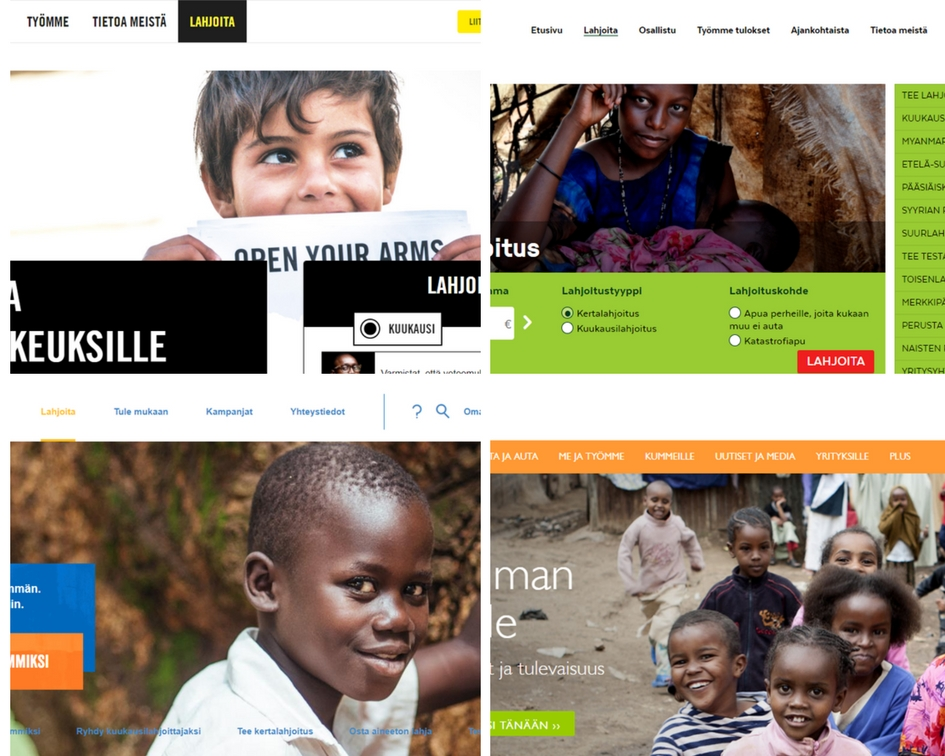 Kuvakaappaukset Amnestyn, Kirkon Ulkomaanavun, Plan Suomen ja WorldVisionin suomalaisilta etusivuilta 14.4.2018.