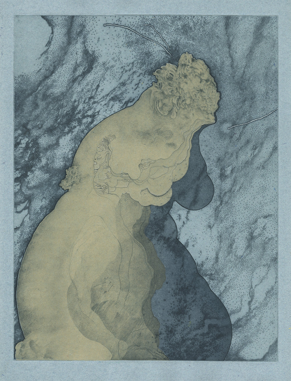 Siren , 2018. Hannah Adair. Hand-colored etching on handmade paper, 24 x 18 in. Courtesy of Hannah Adair.
