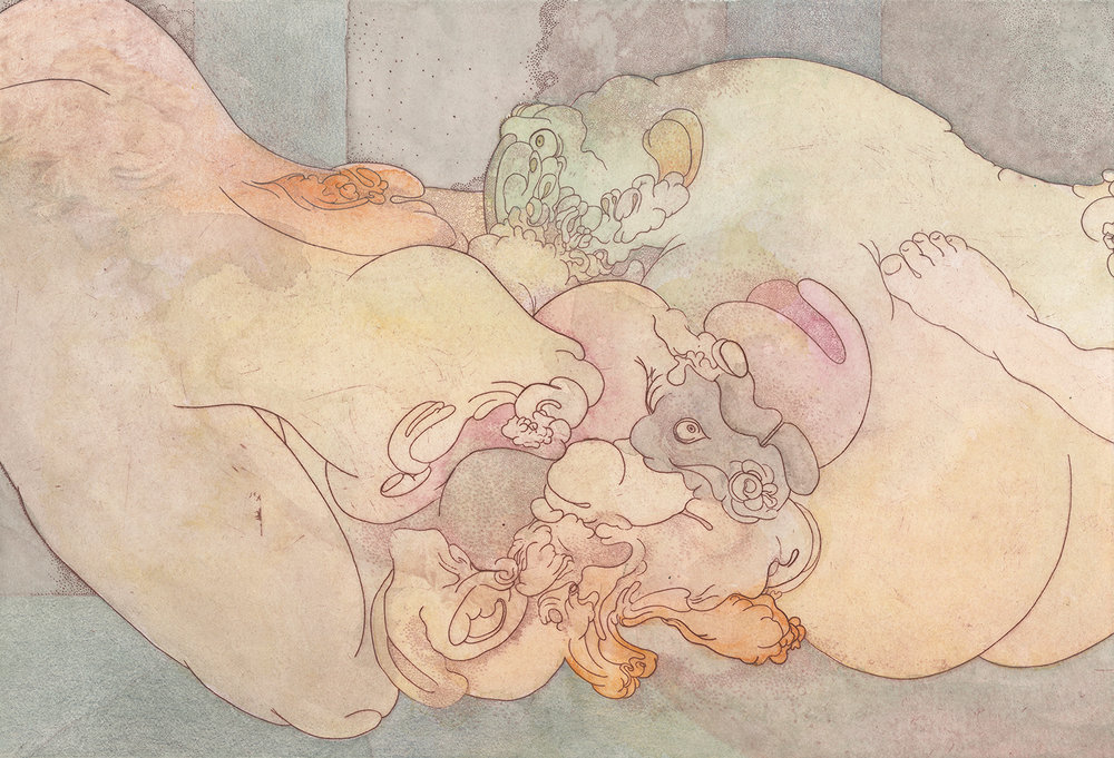 Lovers Drawing II , 2018. Hannah Adair. Etching, watercolor, and color pencil, 10 x 14.5 in. Courtesy of Hannah Adair.