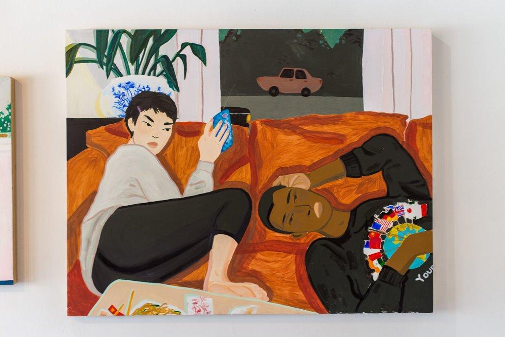 Dianna Settles, Burger Joy , 2017, Acrylic and oil on panel, 40 x 30 in., Courtesy of Dianna Settles