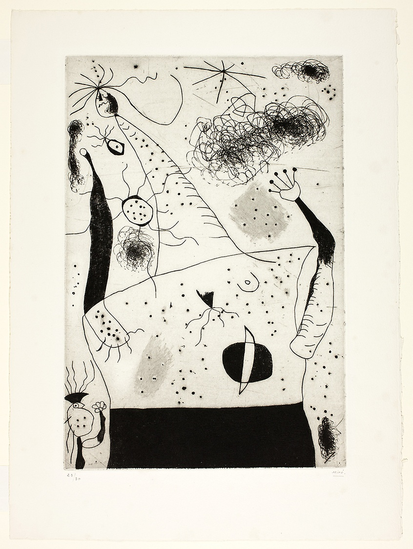 The Giantess  by Joan Miró (1938), drypoint in black on ivory wove paper, 345 x 288 mm. © 2018 Successió Miró / Artists Rights Society (ARS), New York / ADAGP, Paris