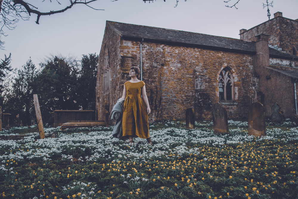 Wandering through the Wolds in the  New Fold Dress  in Ginger.
