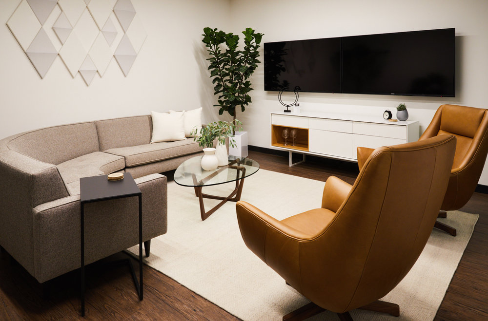 Modern residential feeling corporate conference room at Bellworks designed by New Jersey based interior design studio Ursino Interiors