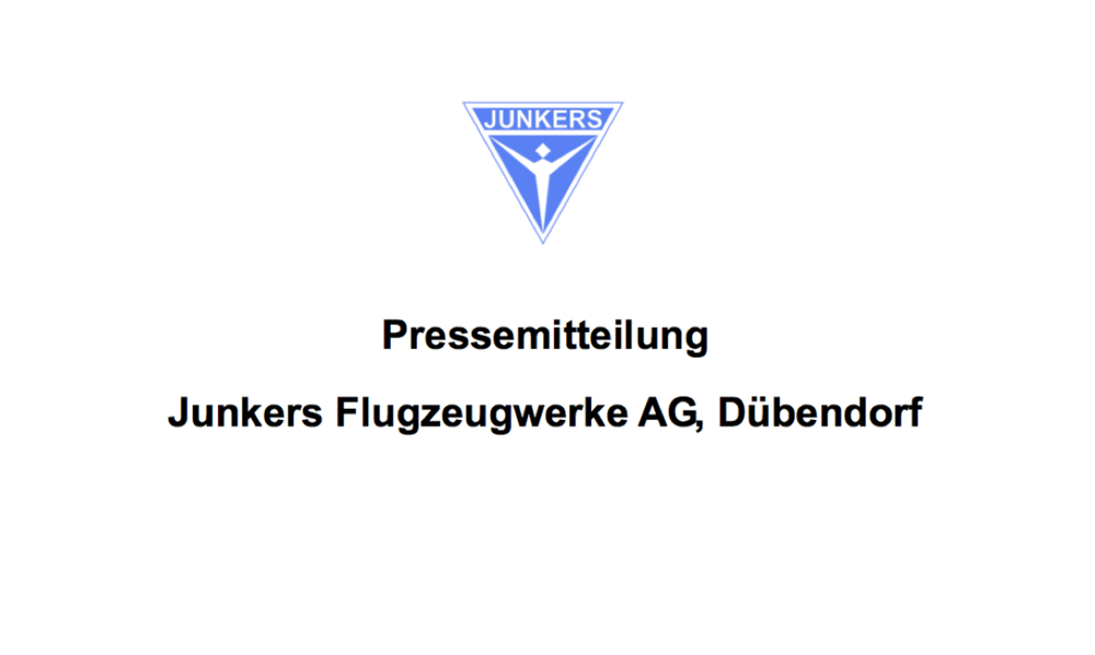 Pressemitteilung  JUNKERS Flugzeugwerke AG