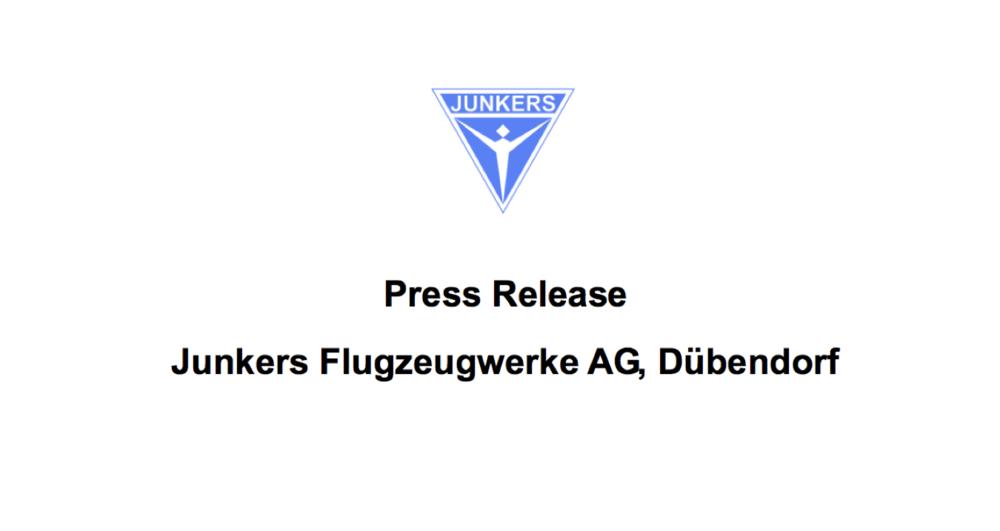 Presse Release  JUNKERS Flugzeugwerke AG