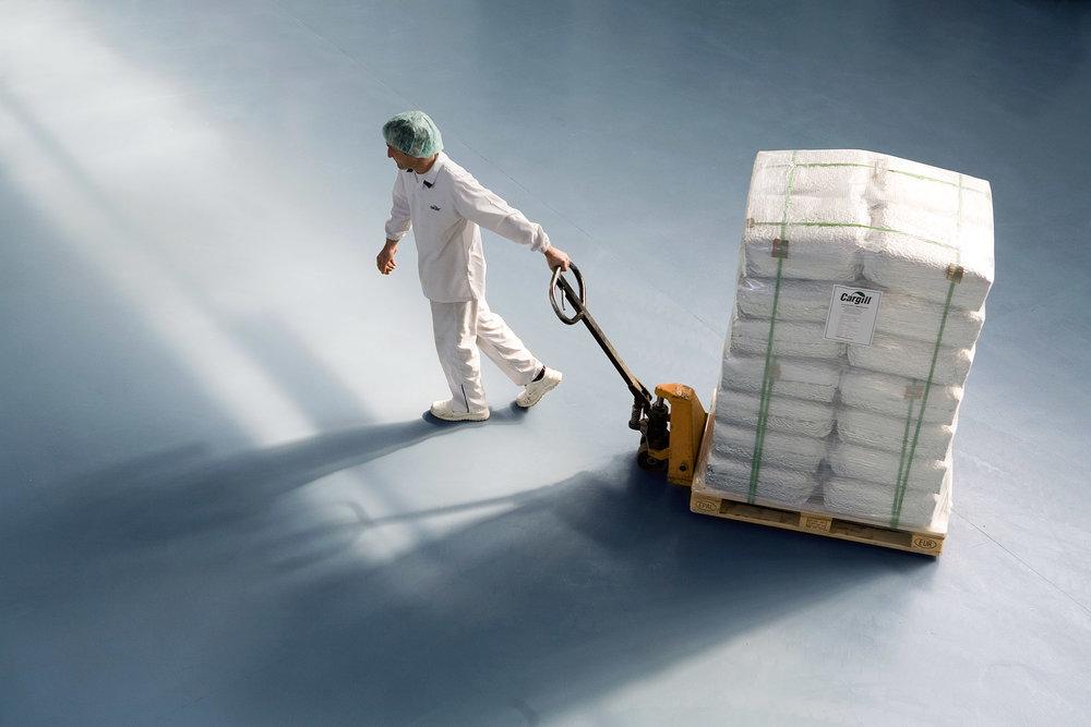 Worker at a hazelnut plant near Istanbul, Turkey