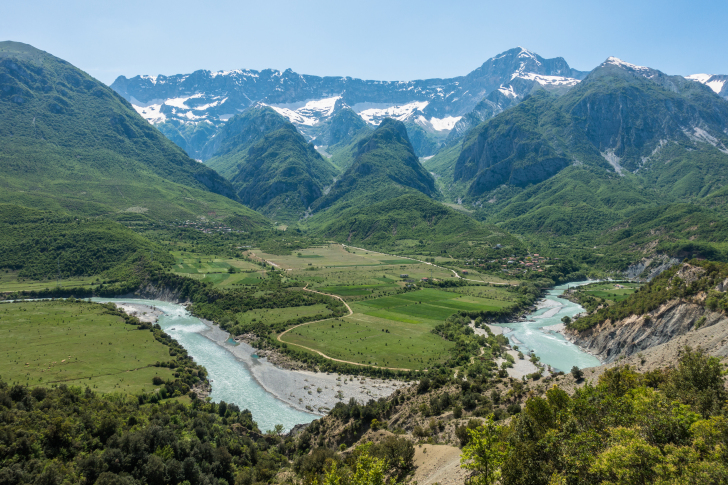 The Vjosa river and floodplain in Albania: one of the last intact large river systems in Europe, currently threatened by proposed dam construction projects. Image: Lukas Thuile Bistarelli