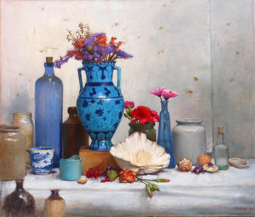 'Blue on Blue Jar'    Original Oil on Canvas