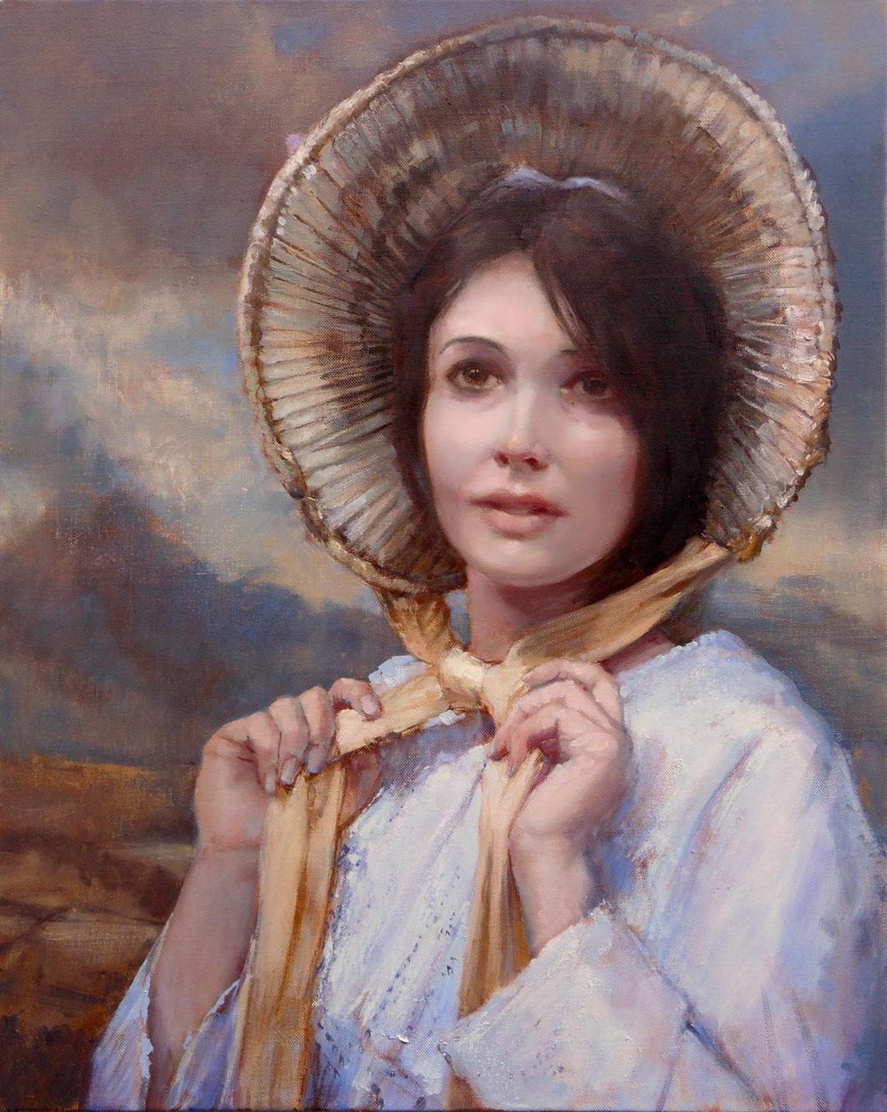 'Tasha with Bonnet'    Original Oil on Canvas