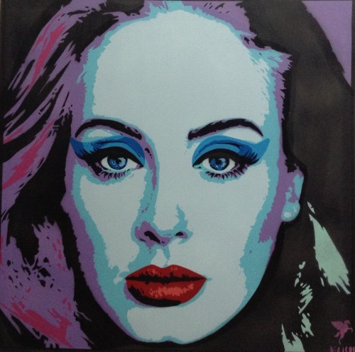 'Adele',    Hand-Sprayed Limited Edition Print.  Available in Red, Orange, Purple, Blue & Green Colourways.