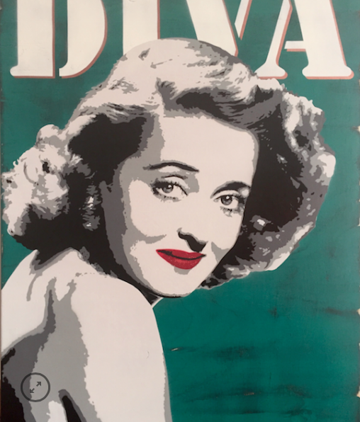 'Joan Crawford, Diva'    Hand-Sprayed, Hand Embellished Original Work on Board.