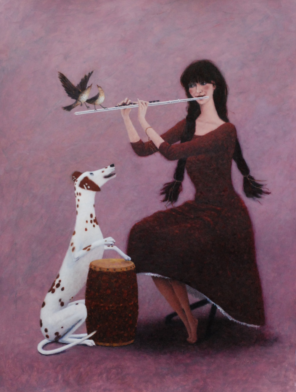'Magic Flute'    Original Oil on Board, Now Sold.  Also available as a Limited Edition Giclee Print on Paper. Hand signed and numbered by the artist.