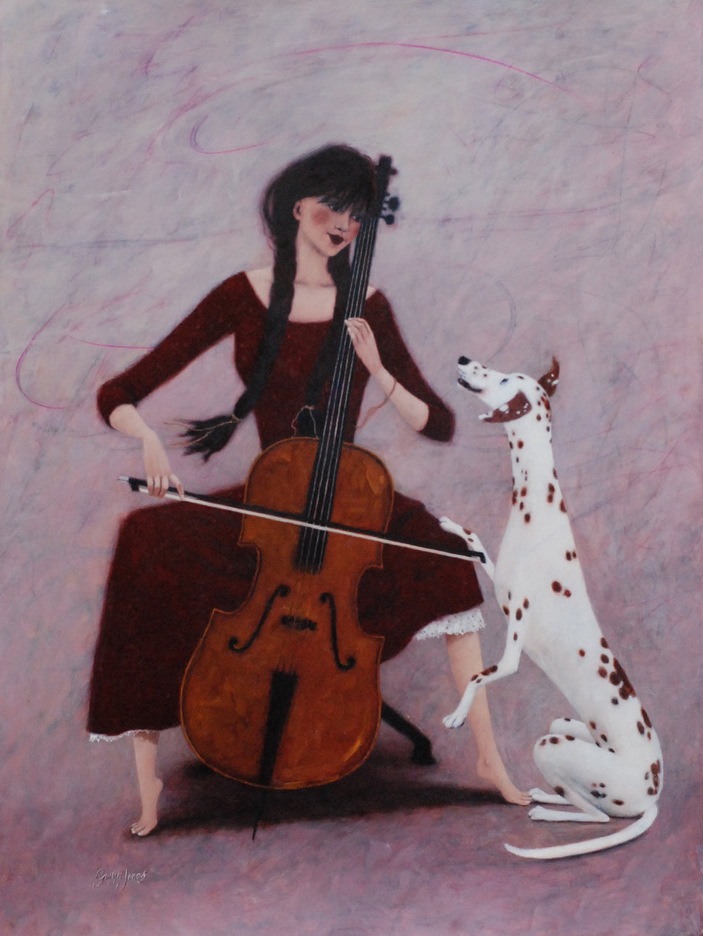'Mellow Cello'    Original Oil on Board, Now Sold.  Also available as a Limited Edition Giclee Print on Paper. Hand signed and numbered by the artist.