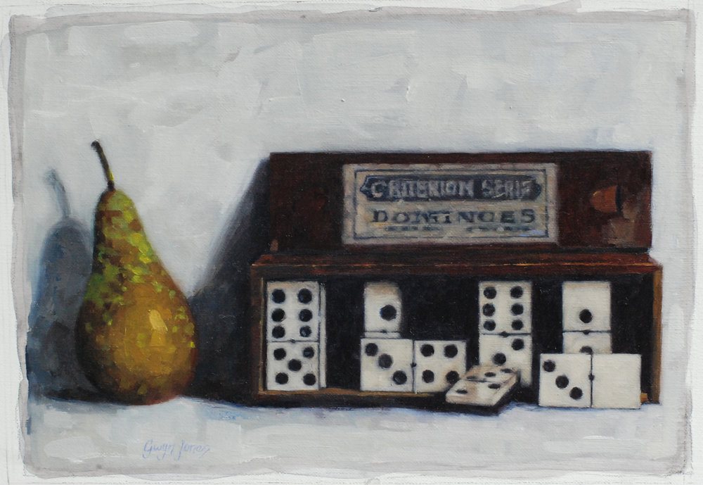 "'The Dominoes & The Pair'    Acrylic On Board Mounted Linen, 10"" x 7"""
