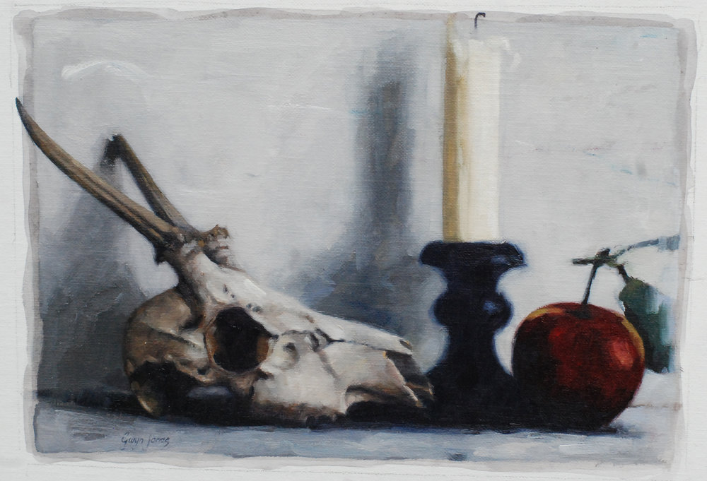 "'The Broken Horn'    Acrylic On Board Mounted Linen, 10"" x 7"""