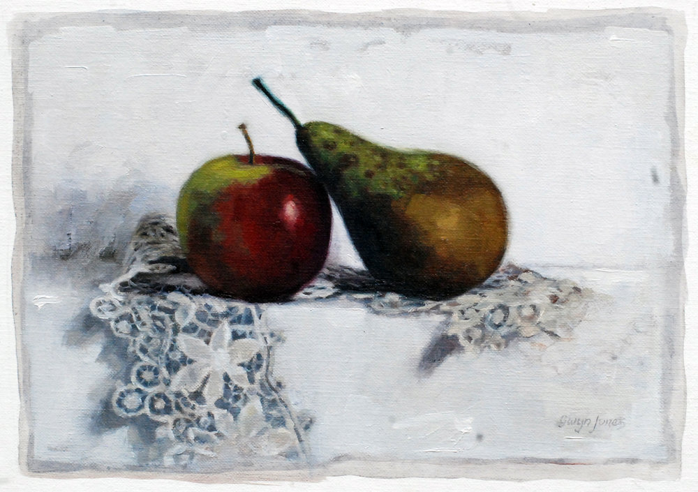 "'Pear, Apple & Lace'    Acrylic On Board Mounted Linen, 10"" x 7"""