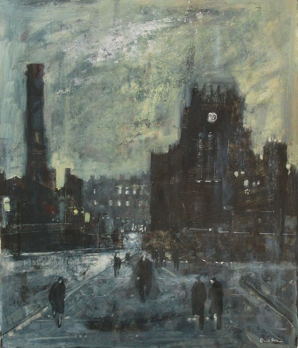 "'Cathedral & Mill' ,  Code no. 2455   Acrylics & Mixed Media on Paper with Oil Glazing, 22"" x 19"""