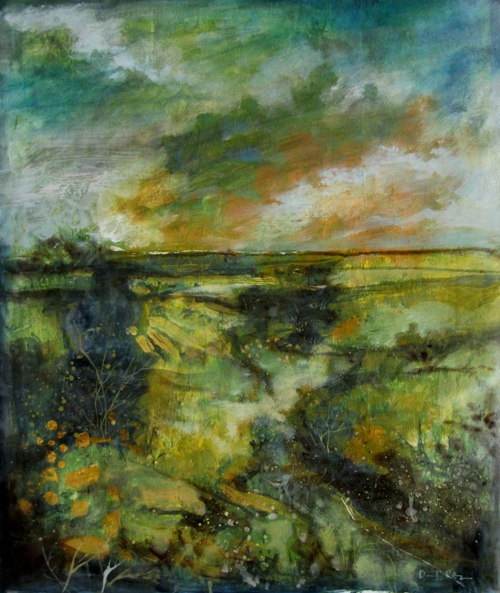 "'Gorse' ,  Code no. L769   Acrylics & Mixed Media on Paper with Oil Glazing, 19"" x 16"""