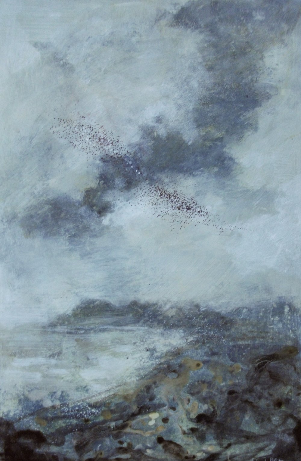 "'Murmuration' ,  Code no. L870   Acrylics & Mixed Media on Paper with Oil Glazing, 18"" x 12"""