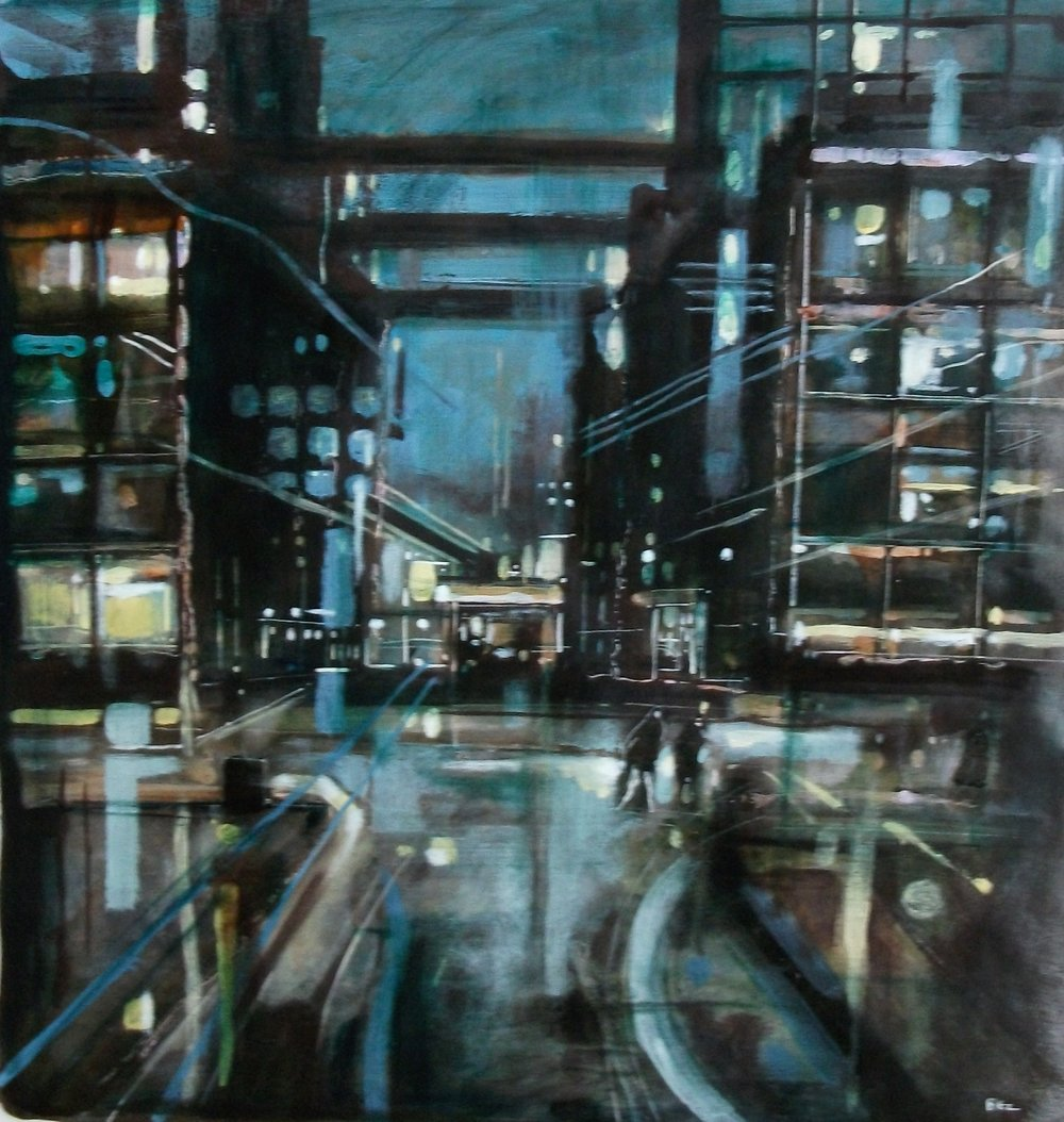 "'Cityscape I' ,  Code no. 2594   Acrylics & Mixed Media on Paper with Oil Glazing, 19"" x 18"""
