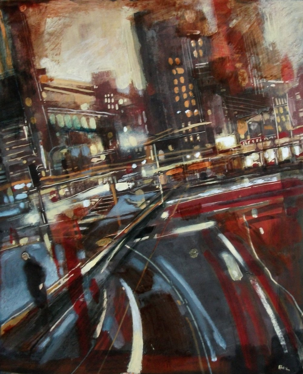 "'Cityscape II' ,  Code no. 2595   Acrylics & Mixed Media on Paper with Oil Glazing, 19"" x 16"""