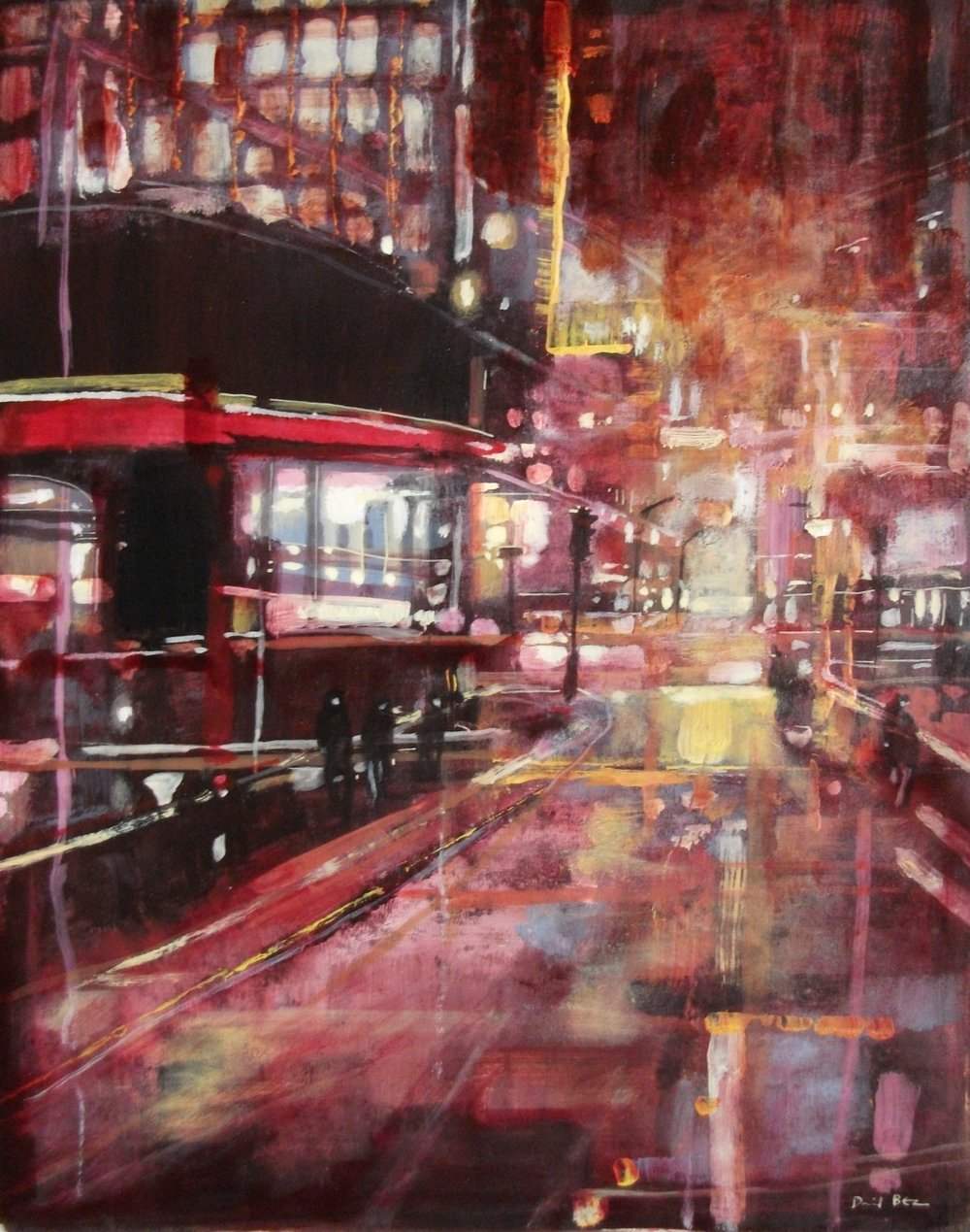 "'Cityscape III' ,  Code no. 2600   Acrylics & Mixed Media on Paper with Oil Glazing, 19"" x 15"""