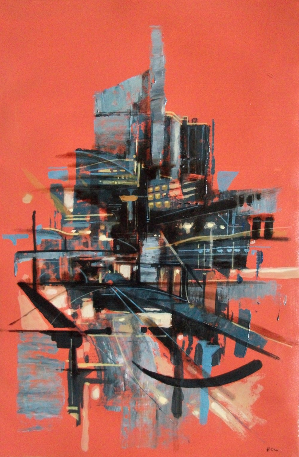 "'Cityscape IV' ,  Code no. 2625   Acrylics & Mixed Media on Paper with Oil Glazing, 18"" x 12"""