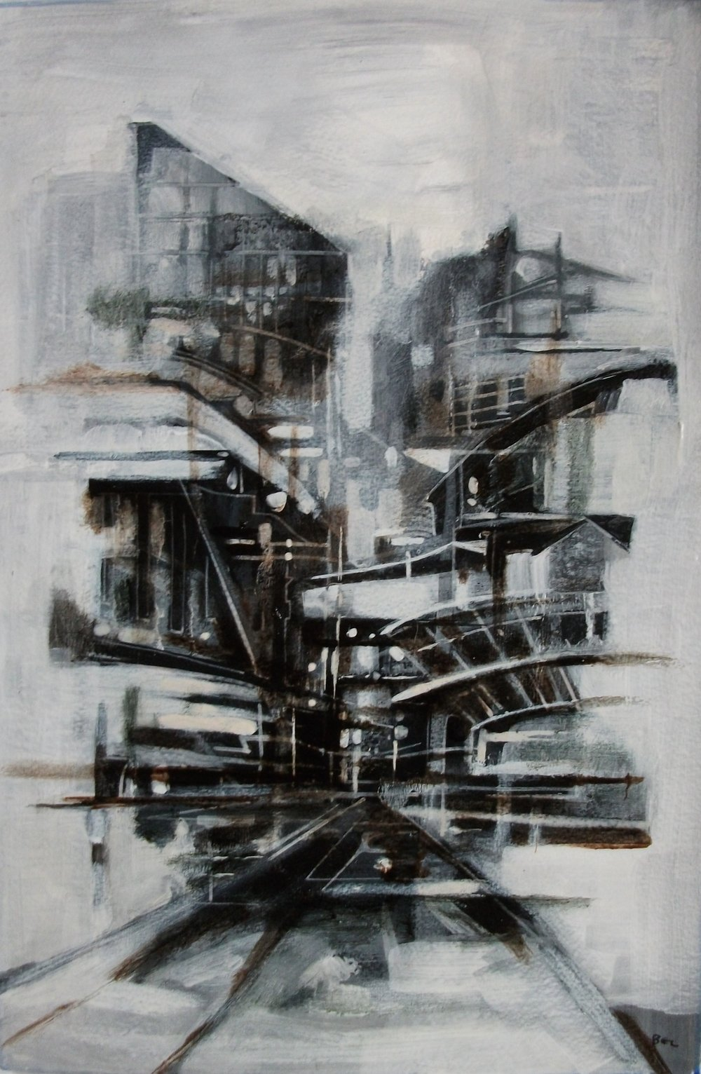 "'Cityscape V' ,  Code no. 2677   Acrylics & Mixed Media on Paper with Oil Glazing, 18"" x 12"""