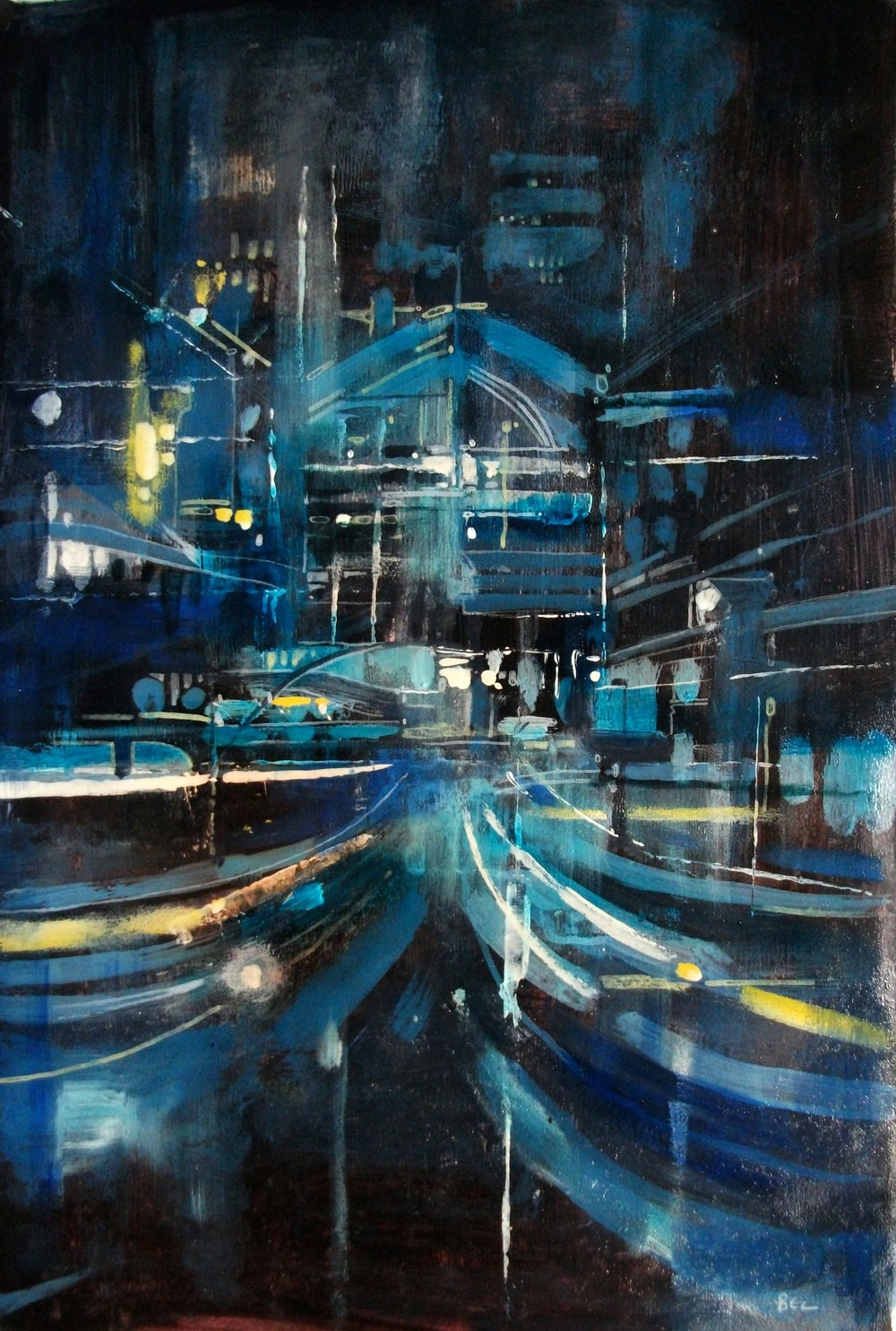 "'Cityscape VI' ,  Code no. 2803   Acrylics & Mixed Media on Paper with Oil Glazing, 18"" x 12"""