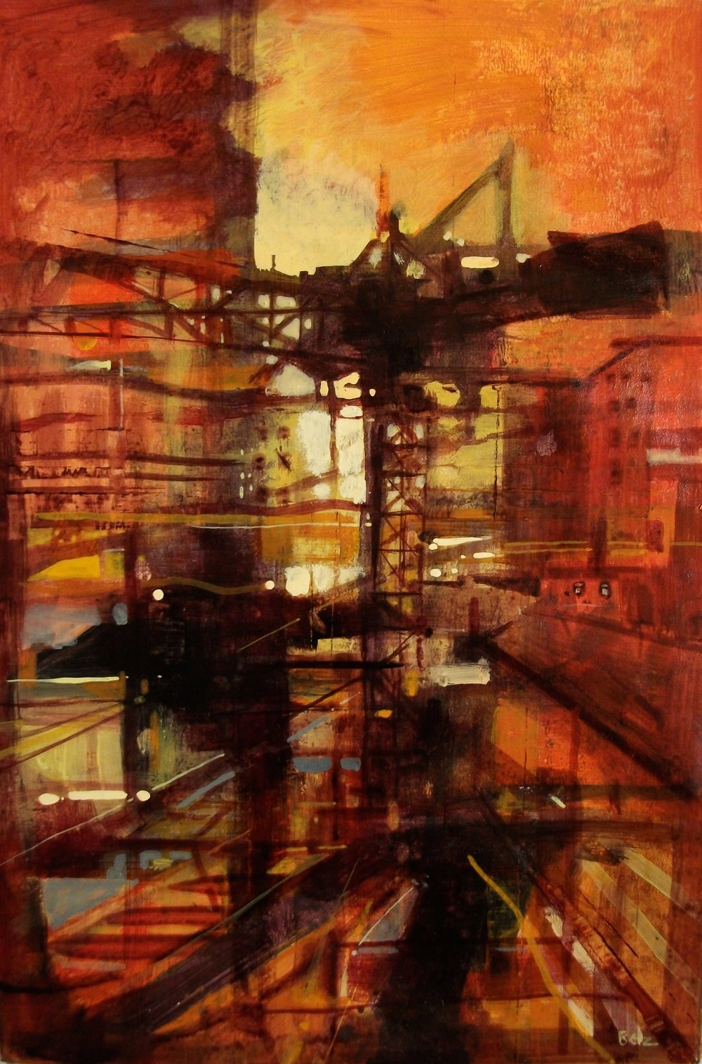 "'Cityscape VII' ,  Code no. 2912   Acrylics & Mixed Media on Paper with Oil Glazing, 18"" x 12"""