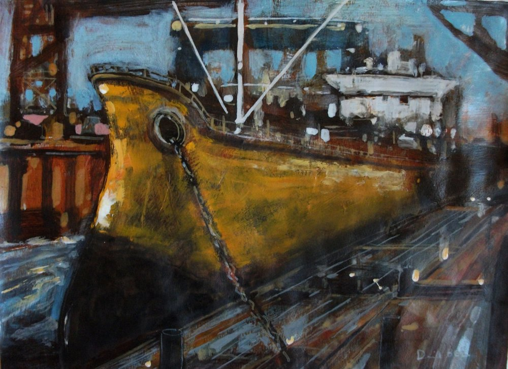 "'Portside' ,  Code no. 2802   Acrylics & Mixed Media on Paper with Oil Glazing, 8"" x 11"""