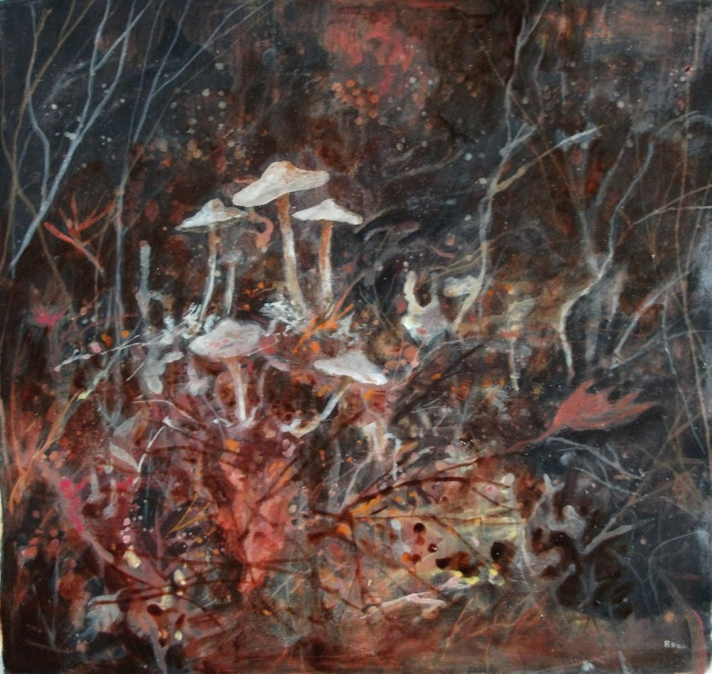 "'Mushrooms' ,  Code no. L275   Acrylics & Mixed Media on Paper with Oil Glazing, 19"" x 20"""