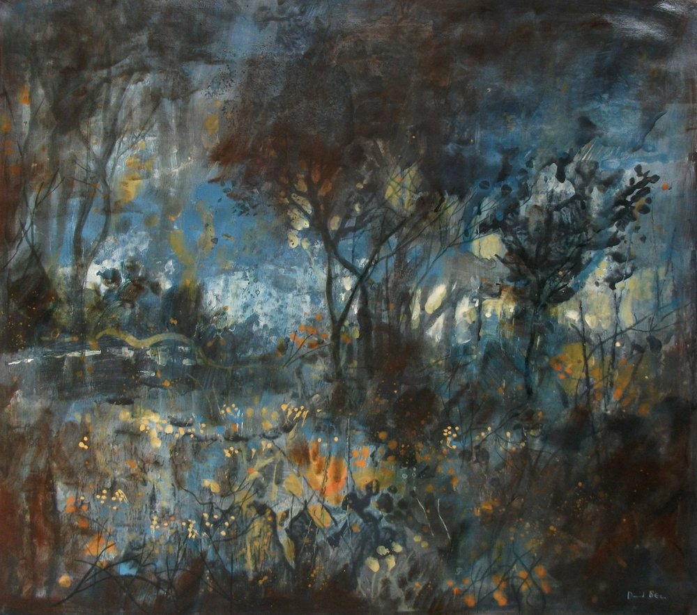"'Moonlit Trees' ,  Code no. L790   Acrylics & Mixed Media on Paper with Oil Glazing, 18"" x 21"""